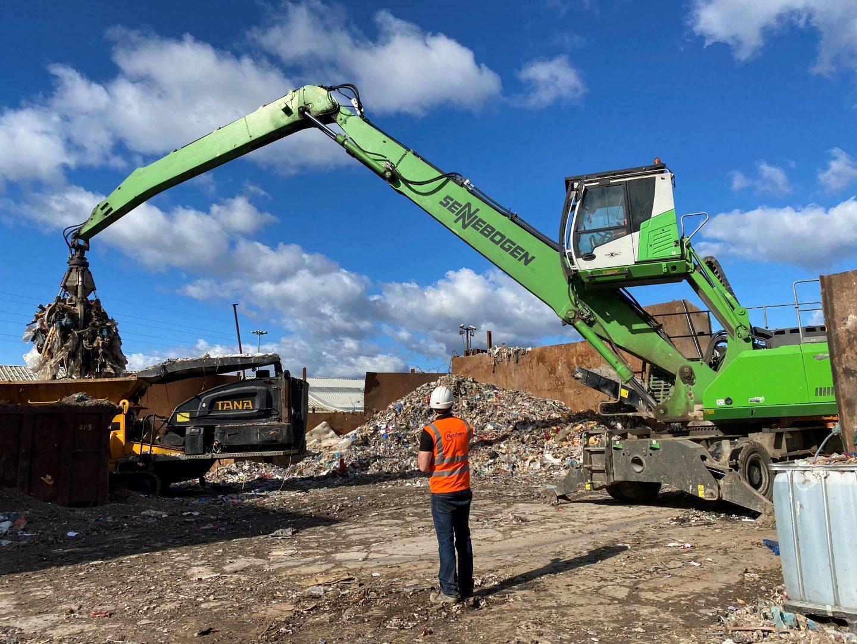 Fletchers Waste Management Yard and worker