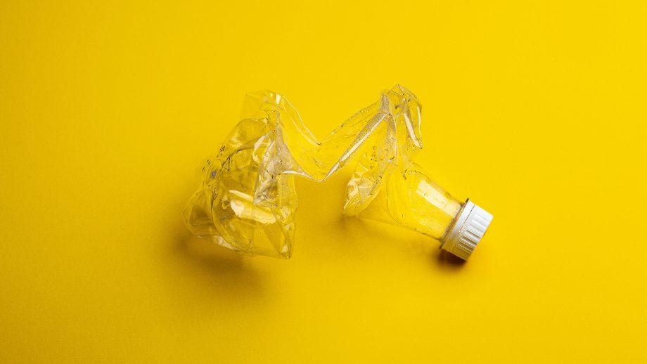 Crumpled plastic bottle