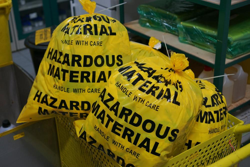 hazardous waste in a bag
